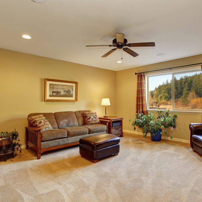 Large family room with sofa and carpet.