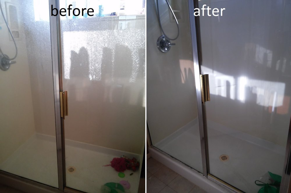 before and after shower cleaning maids el paso